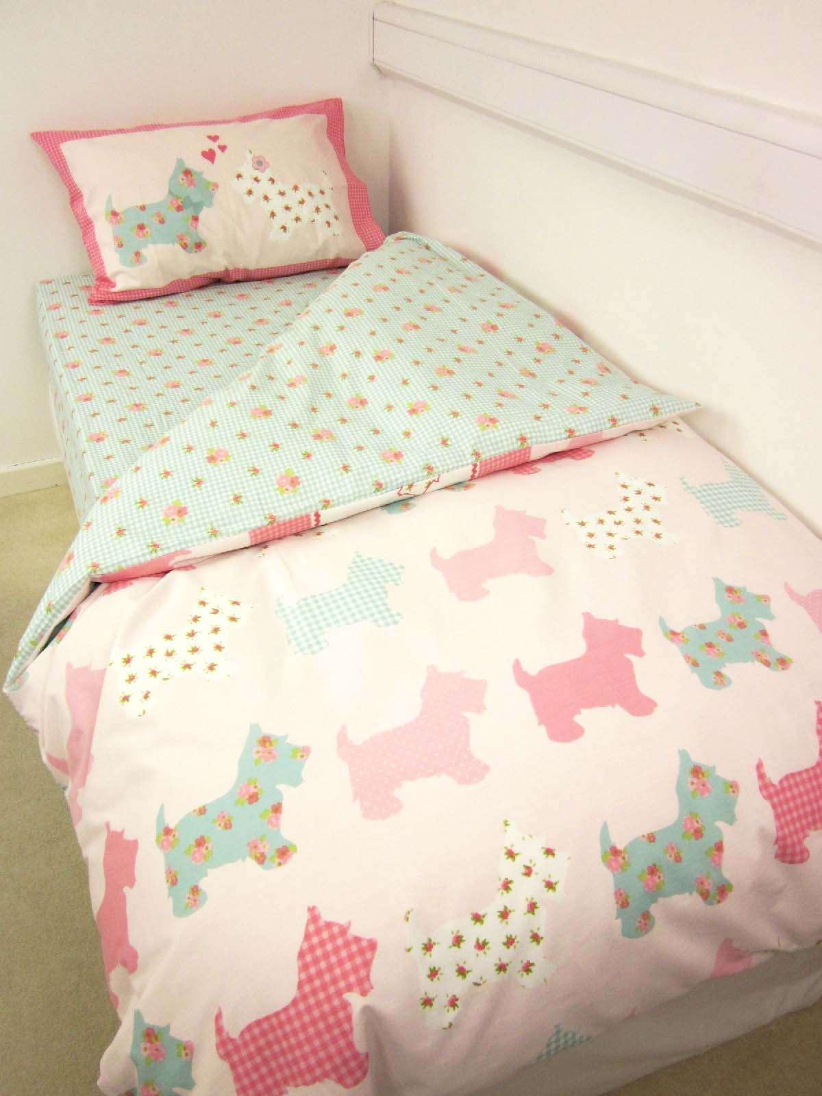 Hard Wearing Scottie Dog Girls Single Bed Bedding Pack