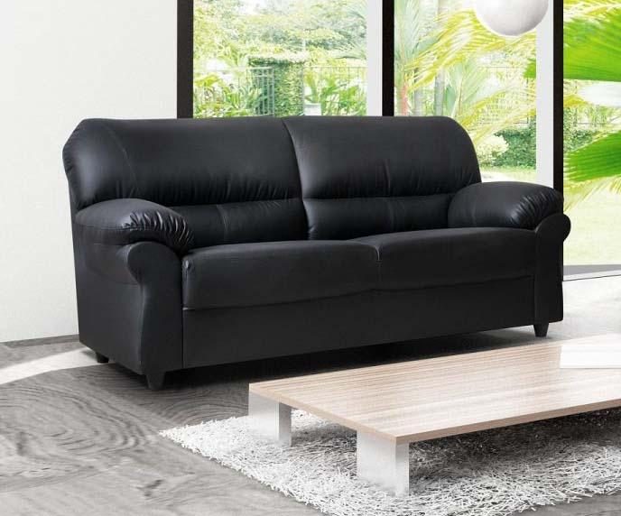Black Faux Leather 3 Seater Sofa
